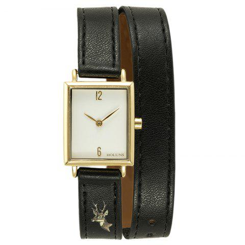 Discount HOLUNS 1173 Fashion Trend Square Dial with Two Stitches of Lady Quartz Watch