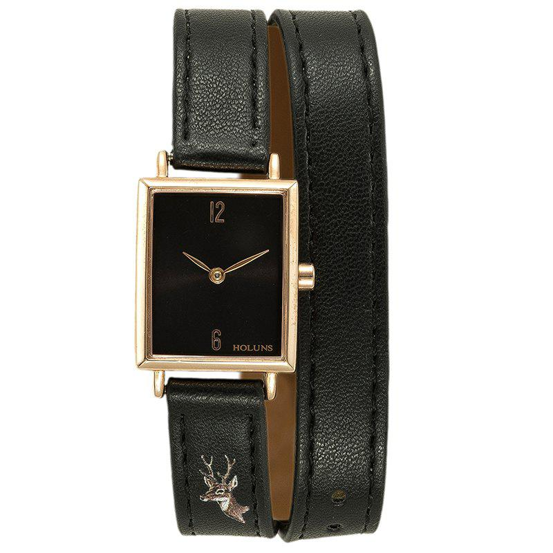 Fancy HOLUNS 1173 Fashion Trend Square Dial with Two Stitches of Lady Quartz Watch