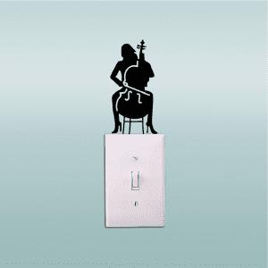 Cello Player Light Switch Sticker Girl Playing Cello Silhouette Vinyl Wall Decor -