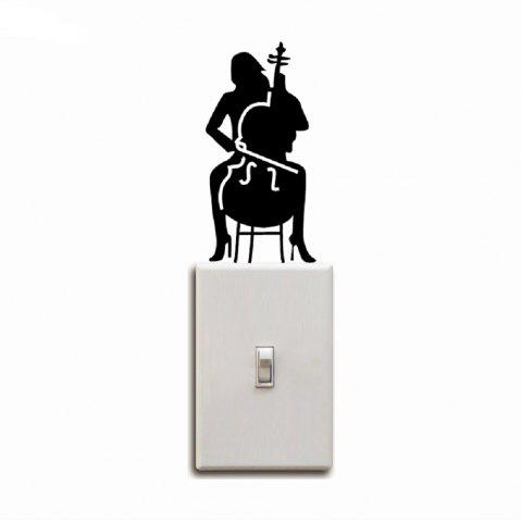 Outfits Cello Player Light Switch Sticker Girl Playing Cello Silhouette Vinyl Wall Decor