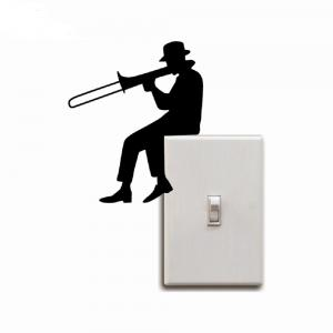 Man Playing Trombone Silhouette Light Switch Sticker Music Vinyl Wall Sticker -