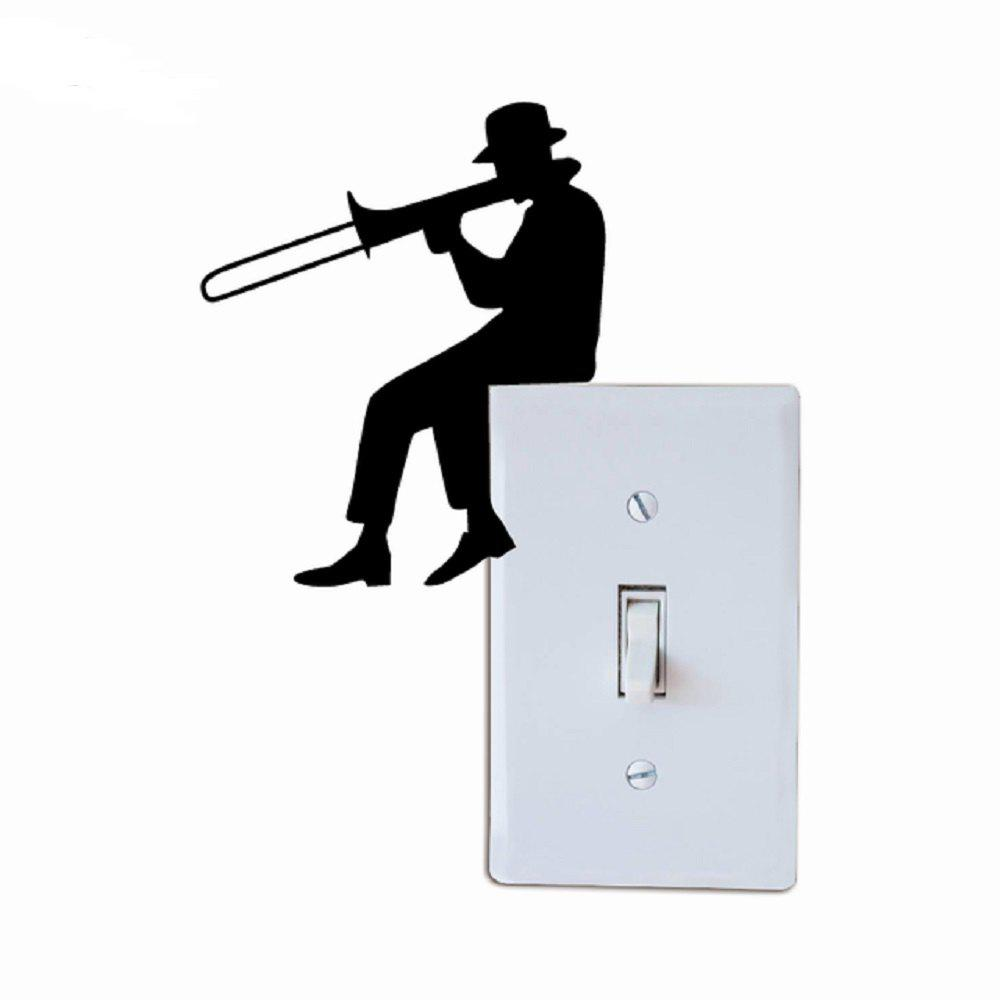 Trendy Man Playing Trombone Silhouette Light Switch Sticker Music Vinyl Wall Sticker