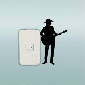 Western Style  Man Playing Guitar Silhouette Switch Sticker Country Music Decal -