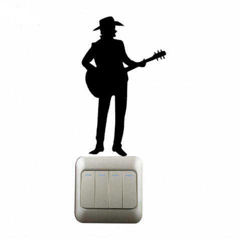 Best Western Style  Man Playing Guitar Silhouette Switch Sticker Country Music Decal