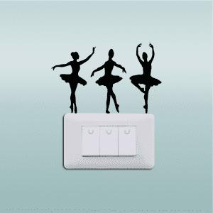 Ballerinas Silhouette Vinyl Light Switch Sticker Ballet Dancer Wall Decal -