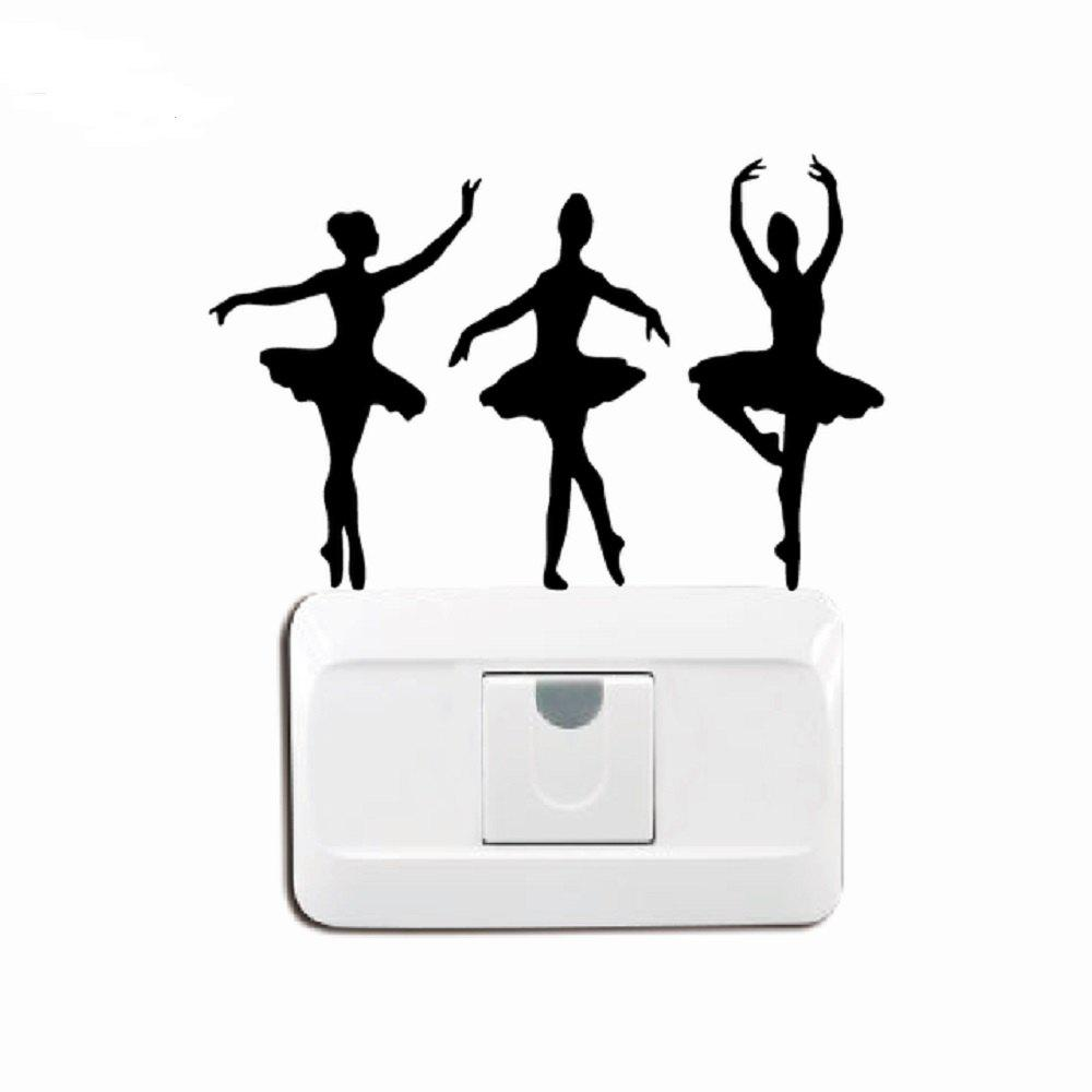 Online Ballerinas Silhouette Vinyl Light Switch Sticker Ballet Dancer Wall Decal