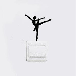 Ballet Dancer Vinyl Switch Sticker Cartoon Silhouette Wall Sticker Home Decor -