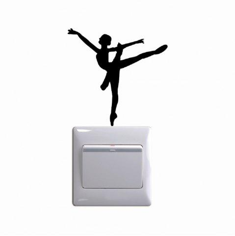 Outfits Ballet Dancer Vinyl Switch Sticker Cartoon Silhouette Wall Sticker Home Decor
