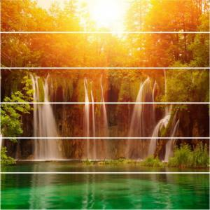Sunshine Lake Waterfall Pattern Style Stair Sticker Wall Decor LTT035 -
