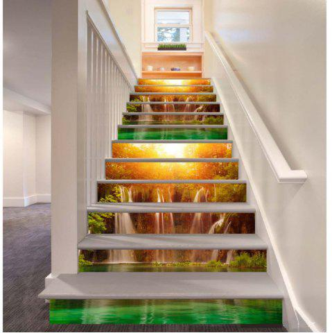 Cheap Sunshine Lake Waterfall Pattern Style Stair Sticker Wall Decor LTT035
