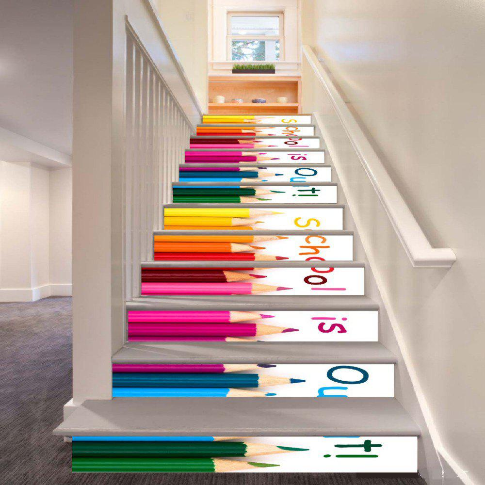 Best School Is Out Color Crayons Pattern Style Stair Sticker Wall Decor LTT036