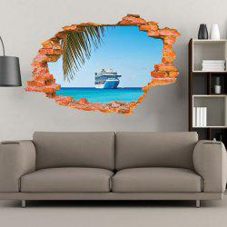 Sailing Boat on the Sea Wall Sticker Sea Water Scenery Wall Decals Home Decor -