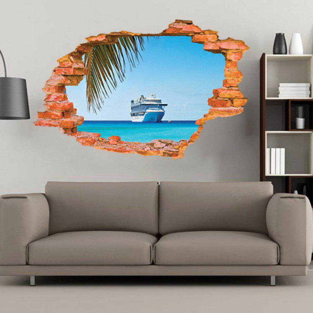 Discount Sailing Boat on the Sea Wall Sticker Sea Water Scenery Wall Decals Home Decor