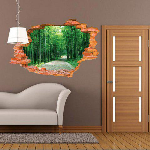 Fashion 3D Bamboo Scenery Wall Sticker Removable Forest Tree Wall Decals