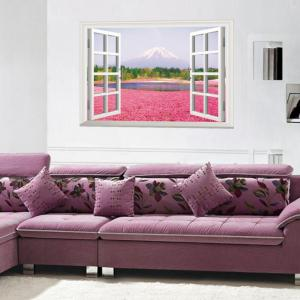 3D Pink Flowers Full Color Wall Sticker Fake Window Scenery View Wall Decals Home Decor -