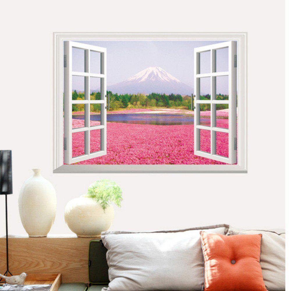 Unique 3D Pink Flowers Full Color Wall Sticker Fake Window Scenery View Wall Decals Home Decor