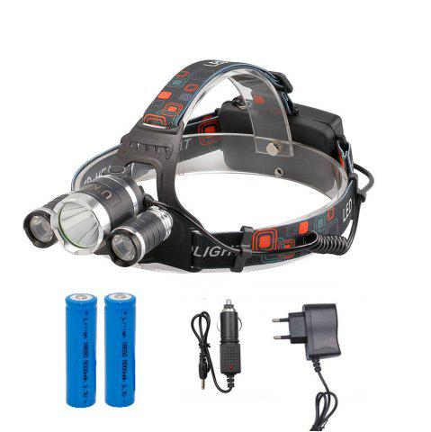 Fancy U'King ZQ-X807 1600LM 3 LEDs 4 Mode Portable Headlamp with Chargers and Batteries