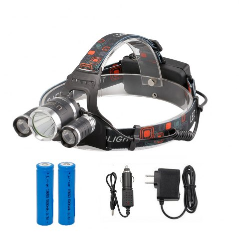 Shop U'King ZQ-X807 1600LM 3 LEDs 4 Mode Portable Headlamp with Chargers and Batteries