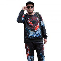 Autumn Trend of Chinese Style Carp Printing National Wind Plus Fat Plus Size Men'S Long-Sleeved Sweatshirt PCW70026B -