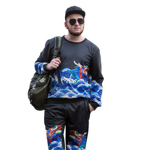 Fancy Long Teng Printing Large Size Men'S Long-Sleeved Sweatshirt Male Round Neck Collar Loose PCW70030C