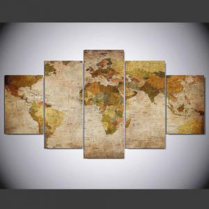 YSDAFEN 5 Panel Modern Hd World Map Art Print Canvas Art for Living Room Wall Picture -