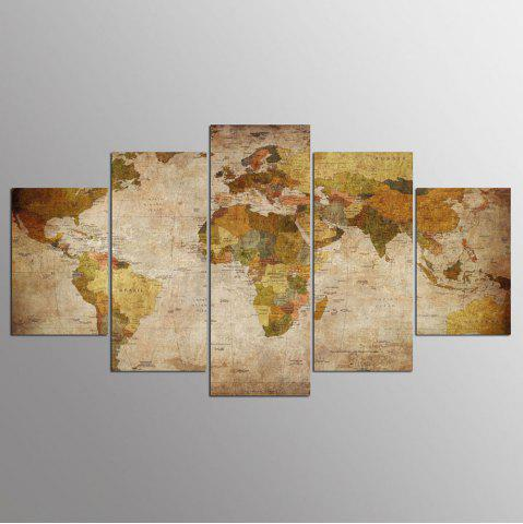 Best YSDAFEN 5 Panel Modern Hd World Map Art Print Canvas Art for Living Room Wall Picture