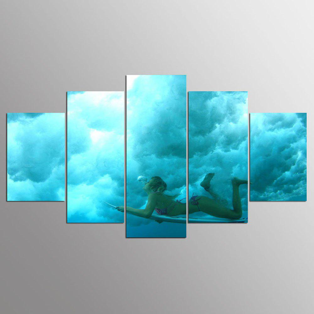 Trendy YSDAFEN 5 Panel HD Printed Skateboard Surfing Girl on Canvas Room Decoration