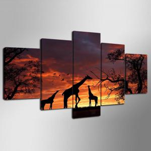 YSDAFEN 5 Panel Modern Hd Giraffe Print Canvas Art for Living Room Wall Picture -