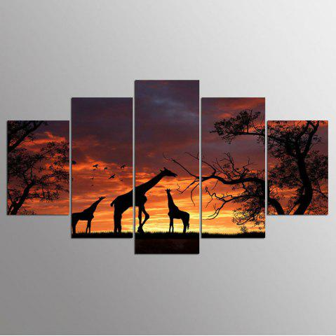 Fashion YSDAFEN 5 Panel Modern Hd Giraffe Print Canvas Art for Living Room Wall Picture