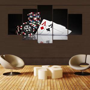 YSDAFEN 5 Panel HD Poker Canvas Print Room Decor Poster Picture -