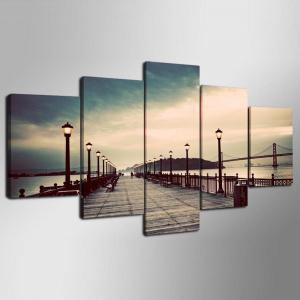 YSDAFEN 5 Panel Modern Hd San Francisco-Oakland Bay Bridge Canvas Print Art for Living Room Wall Picture -
