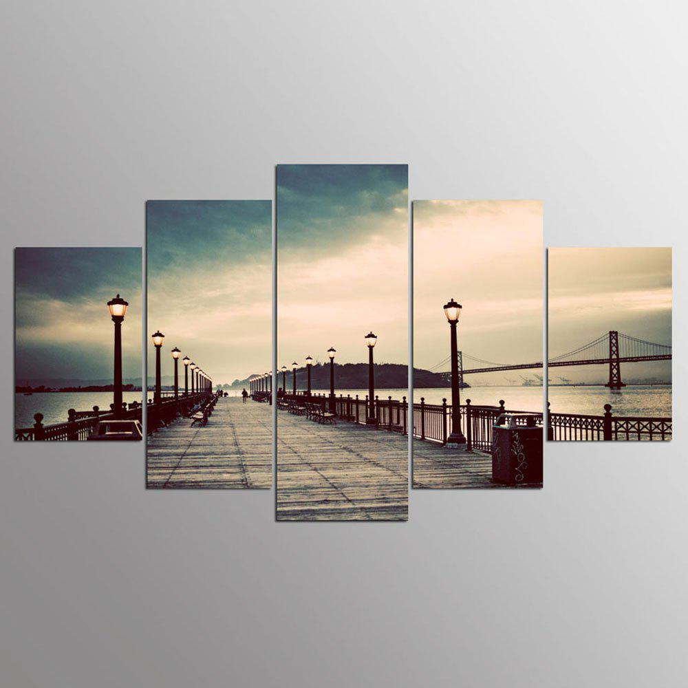 Outfit YSDAFEN 5 Panel Modern Hd San Francisco-Oakland Bay Bridge Canvas Print Art for Living Room Wall Picture
