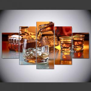 YSDAFEN 5 Panel HD Printed Glass of Ice Wine Canvas Print Room Decor -