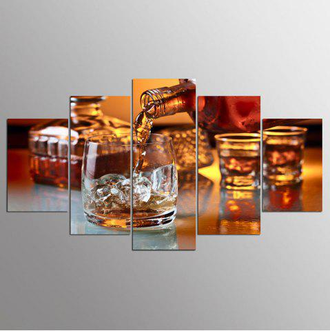 Trendy YSDAFEN 5 Panel HD Printed Glass of Ice Wine Canvas Print Room Decor