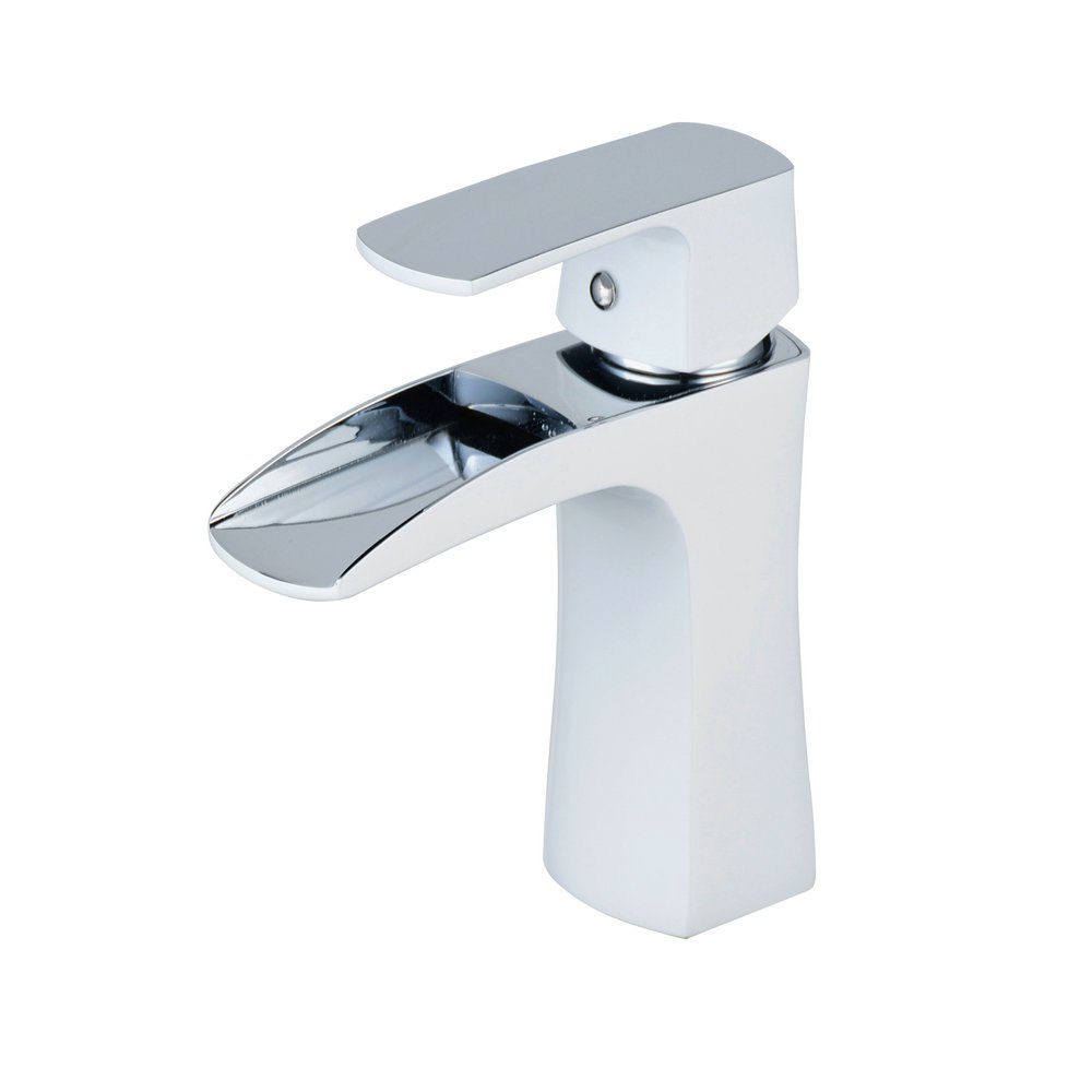 Shops Chrome White Waterfall Bathroom Sink Lavatory Vessel Mixer Faucet