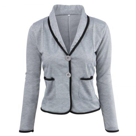 Trendy Women's Blazer Solid Color Button Slim Blazer