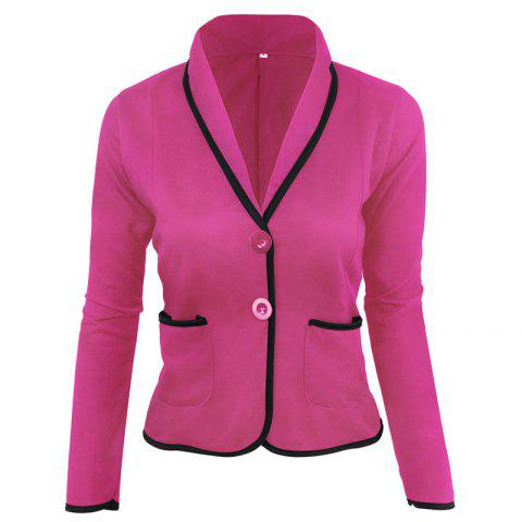 Chic Women's Blazer Solid Color Button Slim Blazer