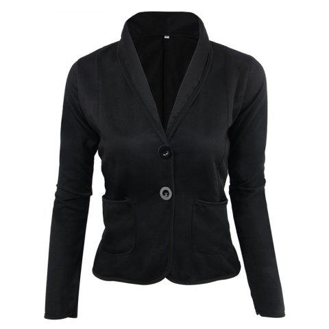 Fancy Women's Blazer Solid Color Button Slim Blazer