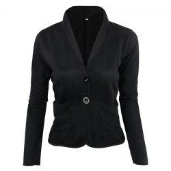 Women's Blazer Solid Color Button Slim Blazer -