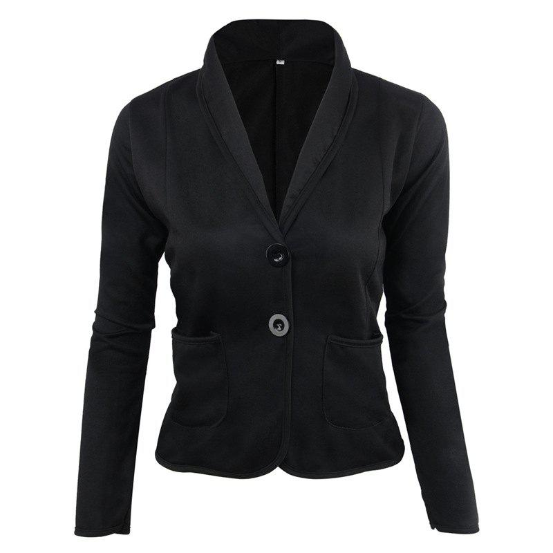 Store Women's Blazer Solid Color Button Slim Blazer