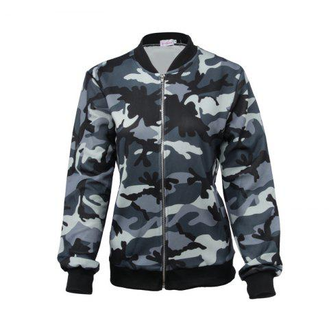 Trendy Women's Jacket Stand Collar Long Sleeve Camouflage Casual Coat
