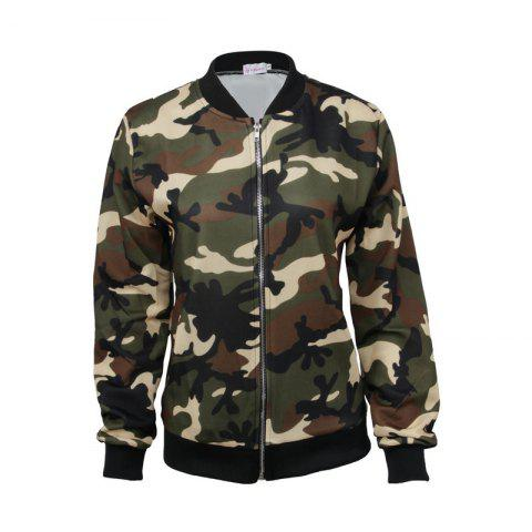 Chic Women's Jacket Stand Collar Long Sleeve Camouflage Casual Coat