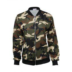 Women's Jacket Stand Collar Long Sleeve Camouflage Casual Coat -