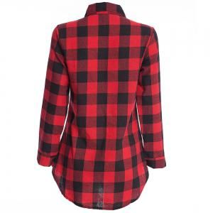 Women's T Shirt Long Sleeve High Low Plaid Top -