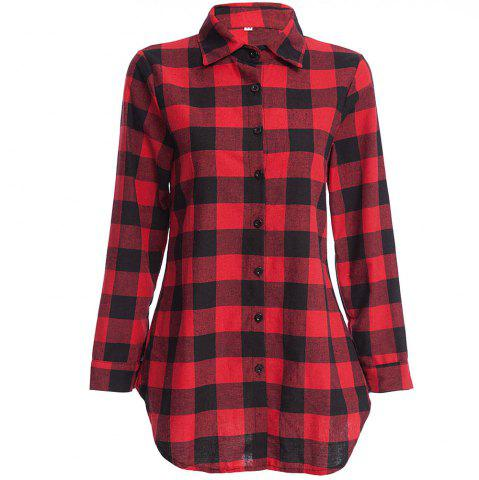 New Women's T Shirt Long Sleeve High Low Plaid Top