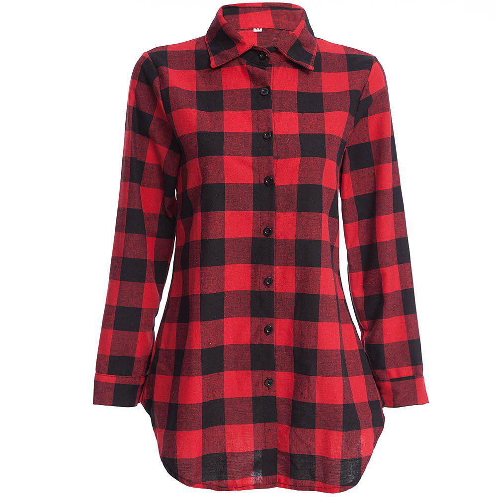 Fancy Women's T Shirt Long Sleeve High Low Plaid Top