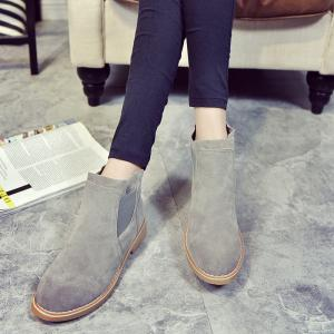 CJC-6 Pure Color Sleeve Leisure Anti Suede Rubber Bottom Anti-Skid Low Heel Round Head Martin Boots -