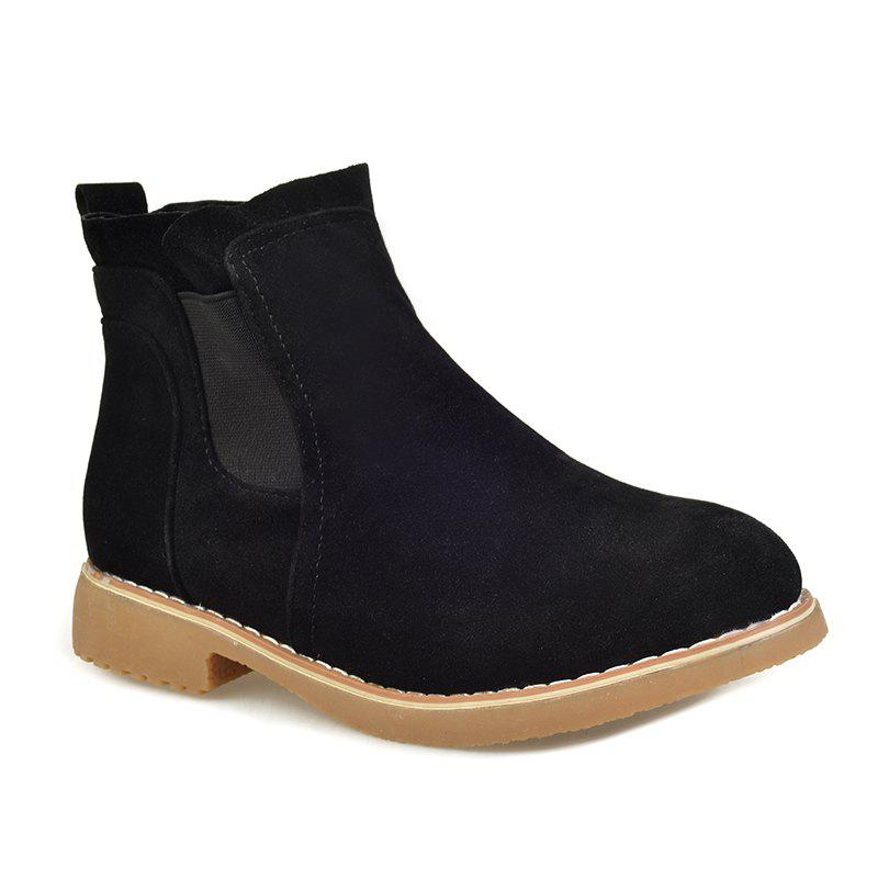 Affordable CJC-6 Pure Color Sleeve Leisure Anti Suede Rubber Bottom Anti-Skid Low Heel Round Head Martin Boots