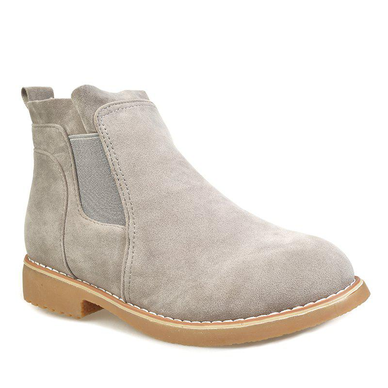Store CJC-6 Pure Color Sleeve Leisure Anti Suede Rubber Bottom Anti-Skid Low Heel Round Head Martin Boots