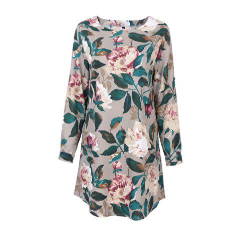 Chic 2017 Autumn Spring New Style Flower Printed Long Sleeve Roung  Collar Blouse Women  Long T-Shirts